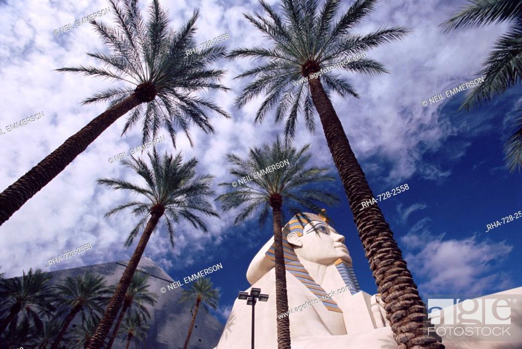 replica sphinx and palm trees luxor hotel las vegas nevada usa