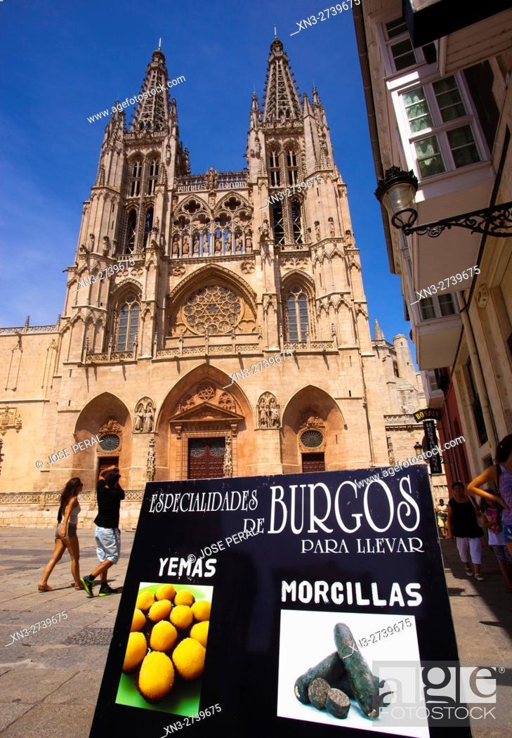 Imagen: Cathedral of Burgos, traditional food, Morcillas, Yemas, Burgos city, Way of St. James, Castilla y León, Castile and León, Spain, Europe.