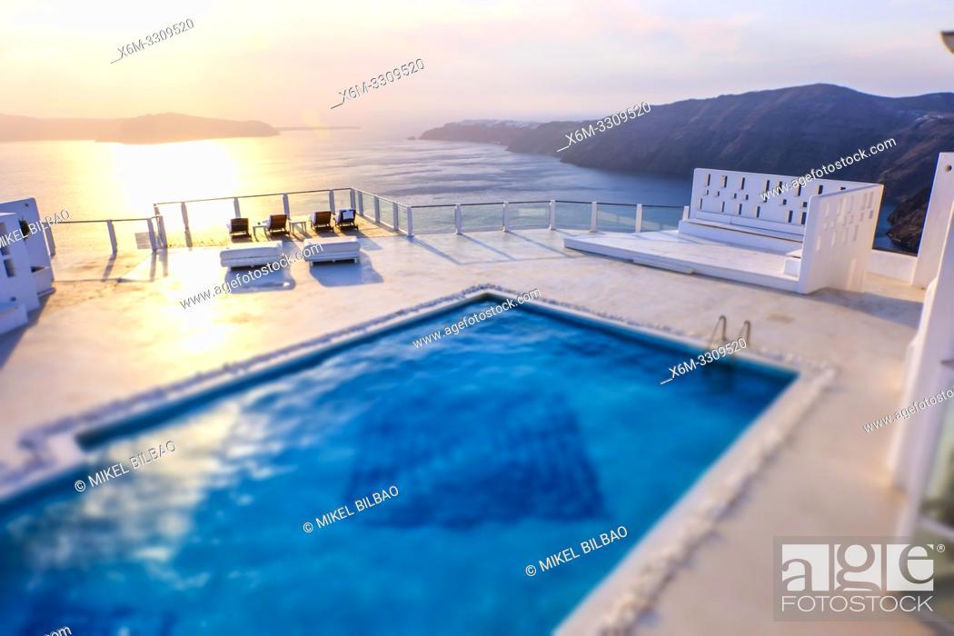 Stock Photo: Swimming pool in an hotel. Imerovigli village. Santorini island. Cyclades islands. Greece.