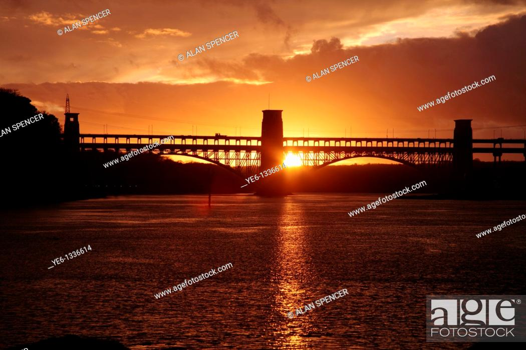 Stock Photo: Britannia Bridge over the Menai Straights, Anglesey, Wales.