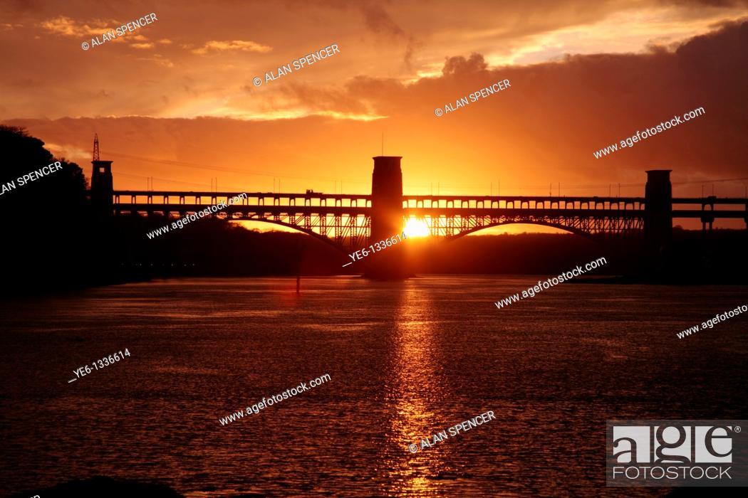Stock Photo: Britannia Bridge over the Menai Straights, Anglesey, Wales.