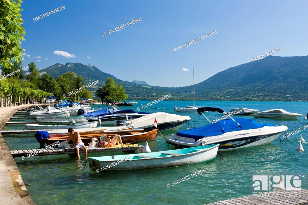 Stock Photo: France, Haute Savoie, Veyrier du Lac, Annecy lake, the marina.