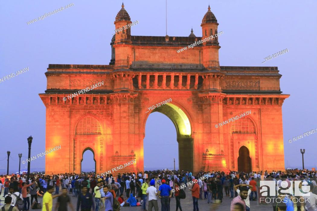 Stock Photo: Gateway of India at Night, Mumbai, Maharashtra, India.