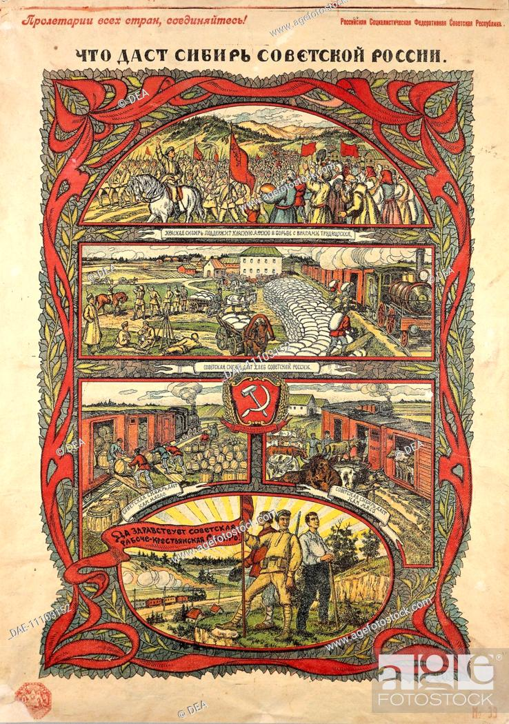 Stock Photo: Posters, Russia, 20th century. The benefits of revolution: victorious Red Army contributes to the transport of wheat and cattle, 1917.