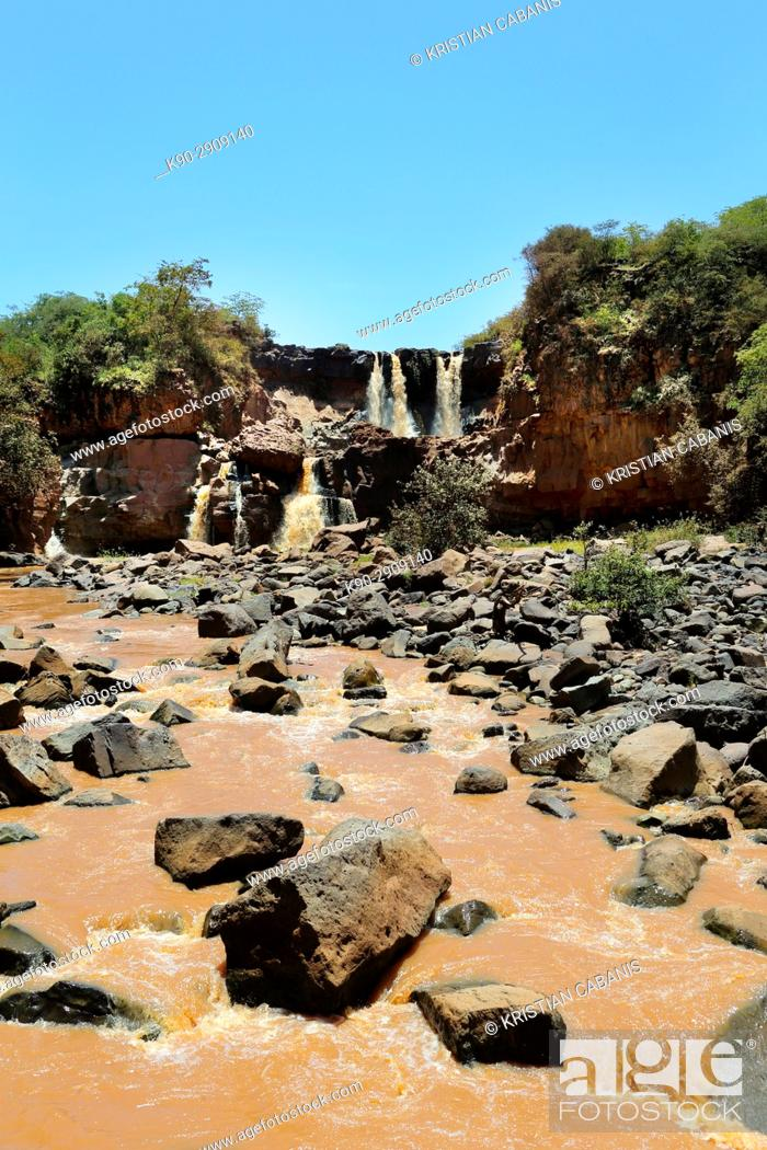 Stock Photo: Africa, Ethiopia, Southern Ethopia, Small river and waterfall on the Arba Minch to Sodo road.
