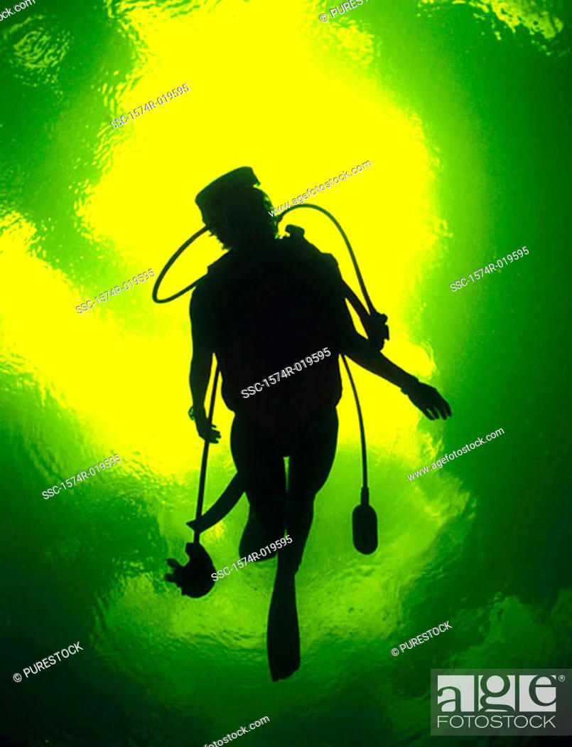 Stock Photo: Silhouette of a scuba diver underwater.