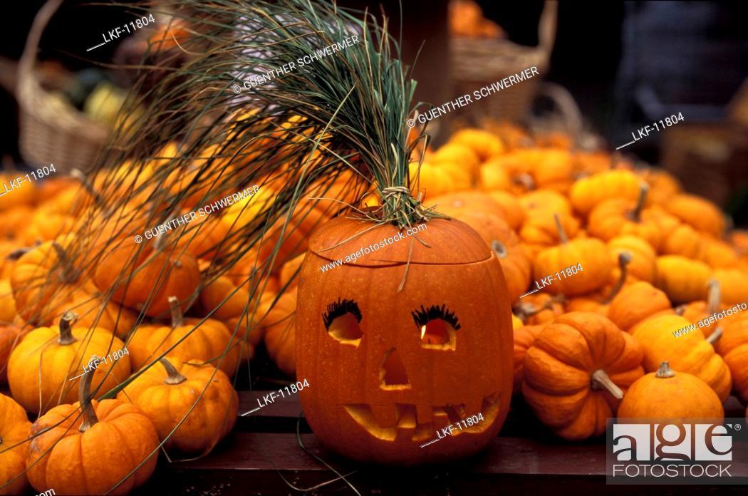 Stock Photo: Jack O'Lantern, Pumpkin, Halloween, Quebec, Canada.