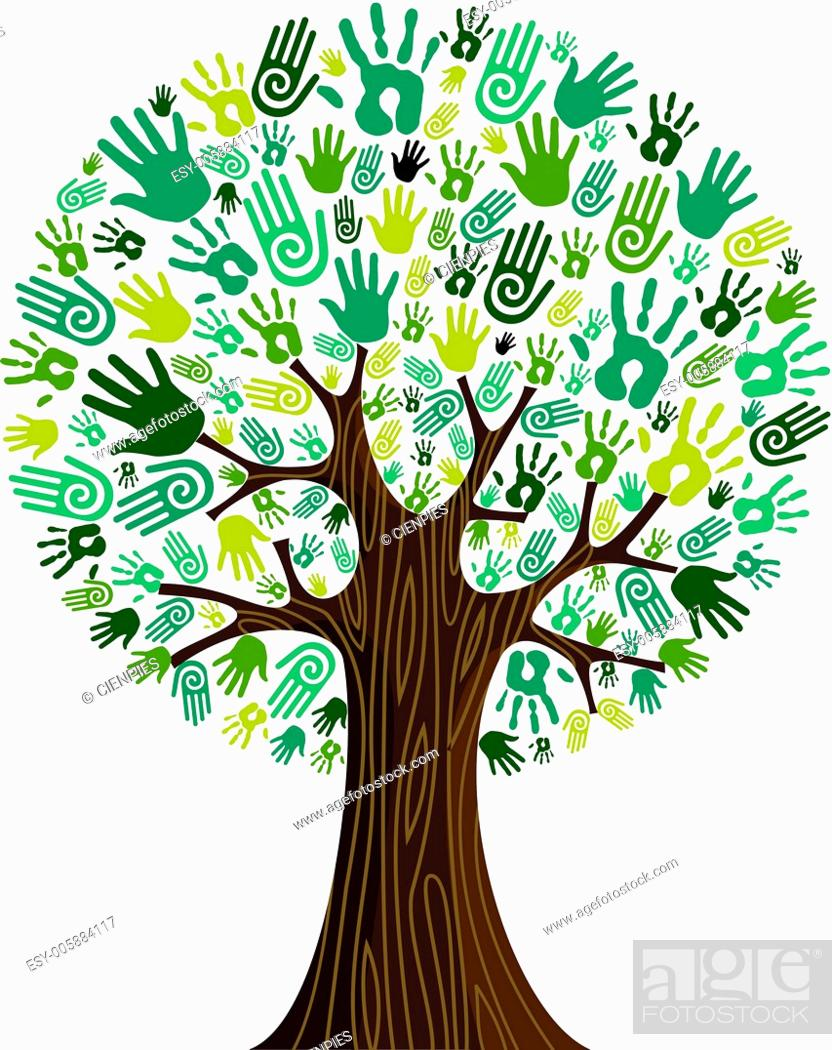 Stock Vector: Go green hands collaborative tree.