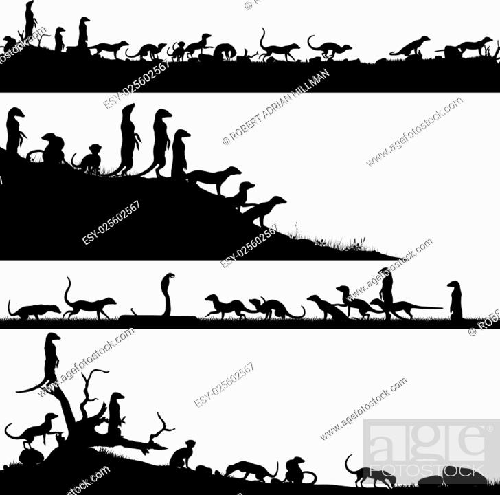 Stock Vector: Set of editable vector foreground silhouettes of African meercats with animals as separate objects.