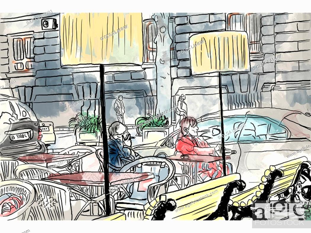 Stock Photo: People at an outdoor cafe.