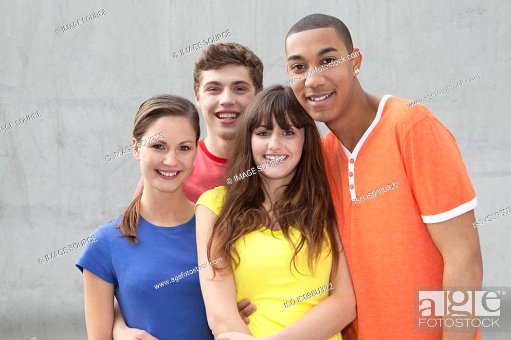 Stock Photo: Four young friends.