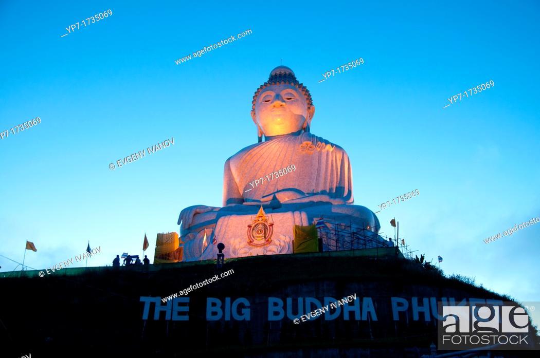 Stock Photo: The Big Buddha monument at dawn on Phuket, Thailand.