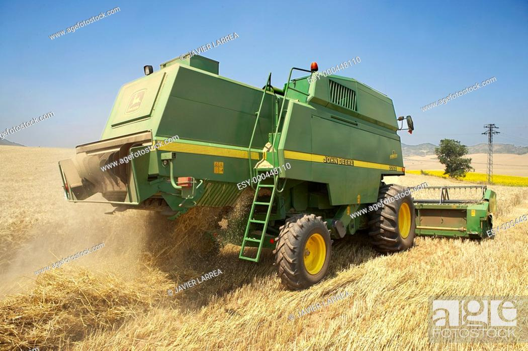 Stock Photo: Combine-harvester, wheat fields, Finca Learza, near Estella, Basque Country, Spain.