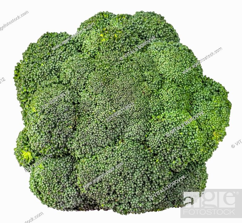Imagen: Large inflorescences of fresh broccoli top view isolated on white background.