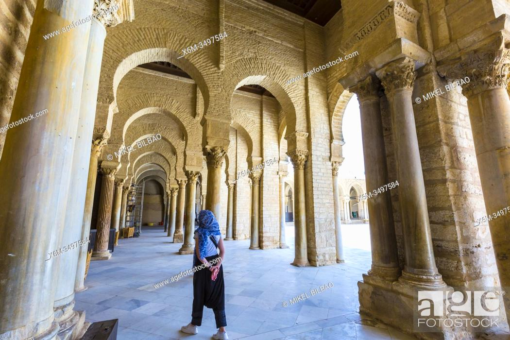 Stock Photo: Portico with columns. Great Mosque of Kairouan or Mosque of Uqba. Kairouan, Tunisia, Africa.