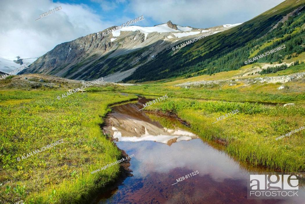 Stock Photo: Salal Peak 2530 m 8301 ft and headwaters of Salal Creek, Athelney Pass Coast Mountains British Columbia Canada.