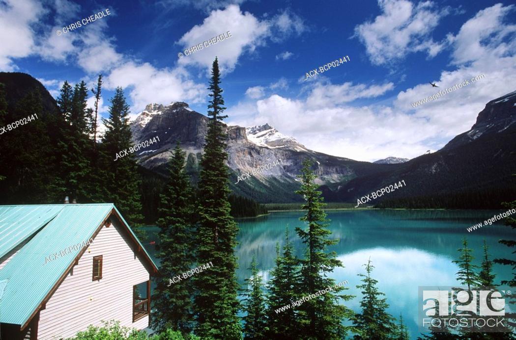 Stock Photo: Emerald Lake with chalets, British Columbia, Canada.