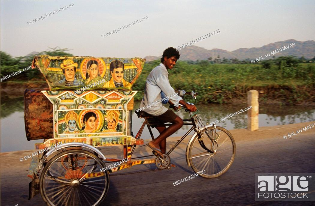 Stock Photo: CYCLE RICKSHAW, ANDHRA PRADESH, INDIA.