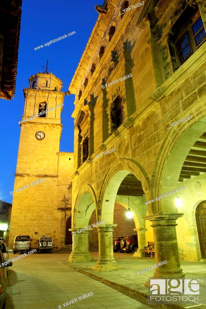 Stock Photo: Church and Town Hall, Arnes. Terra Alta, Tarragona province, Catalonia, Spain.