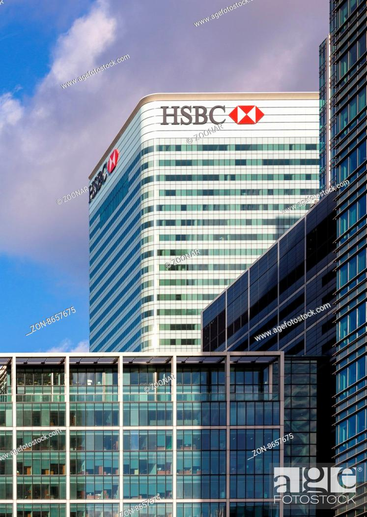 Badge, Logo or sign for HSBC Bank on side of office building
