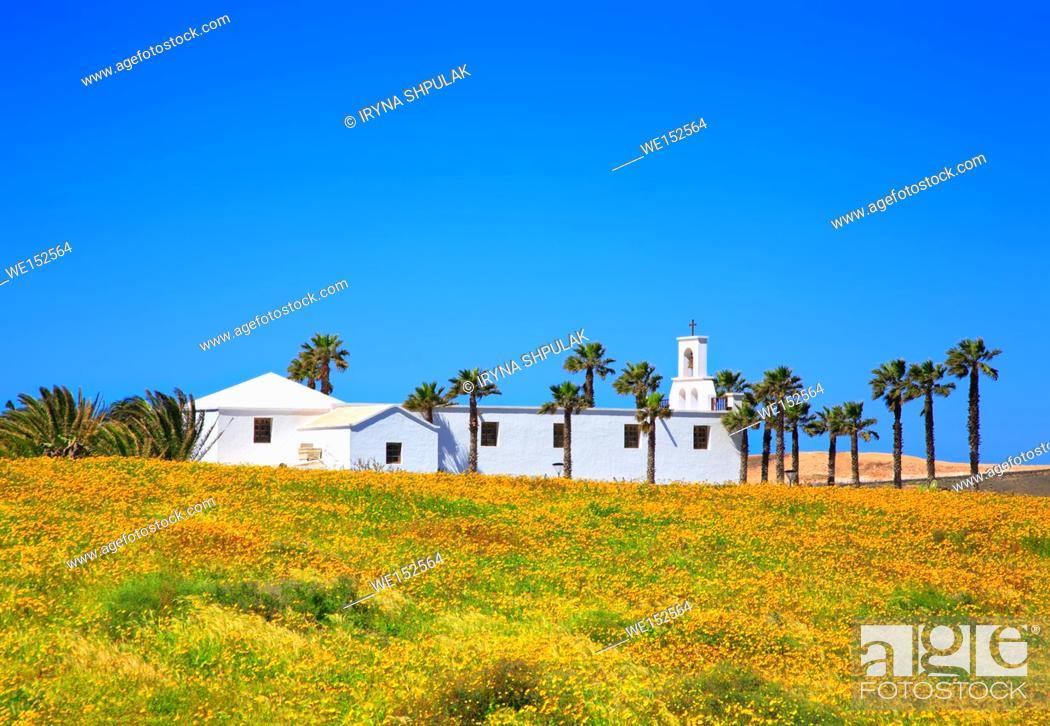 Stock Photo: Church near small village Ye, Island Lanzarote, Canary Islands, Spain.