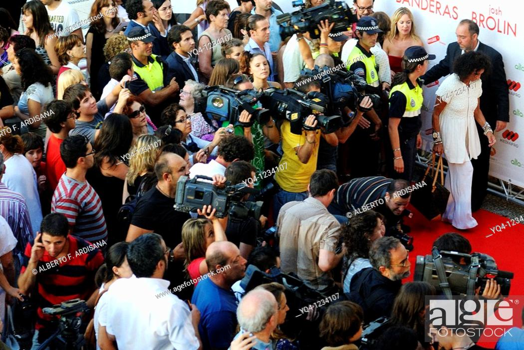 Stock Photo: Journalists at the premiere of the film 'You Will Meet a Tall Dark Stranger', Aviles, Asturias.