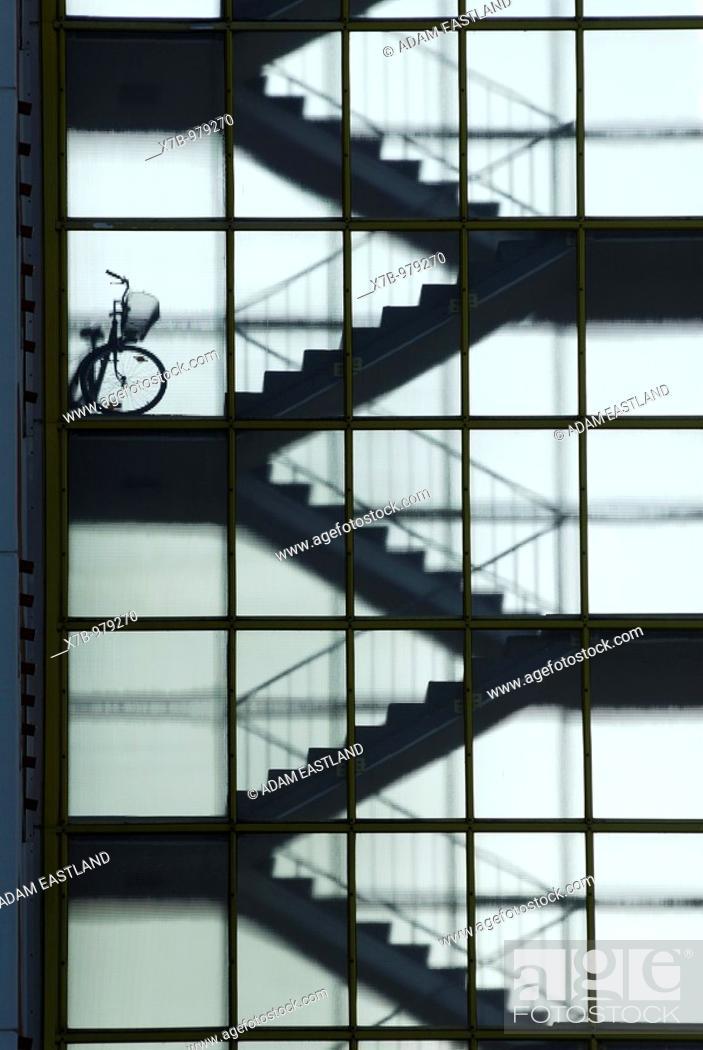 Stock Photo: Berlin  Germany  Hansaviertel Interbau 1957  Stairwell in apartment building Schwedenhaus Altonaerstrasse 3-9 designed by architects Fritz Janecke and Sten.