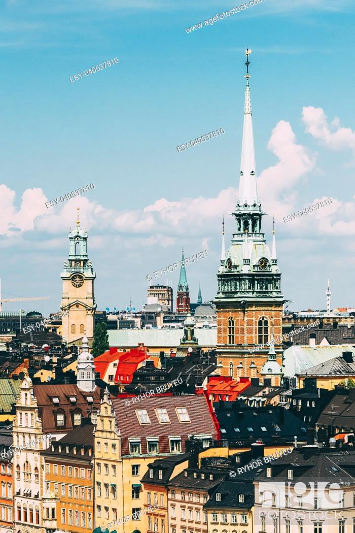 Stock Photo: Stockholm, Sweden. Historical Center With Tall Steeple Of The German Church Or St. Gertrude's Church In Gamla Stan, The Old Town In Central Part Of Swedish.