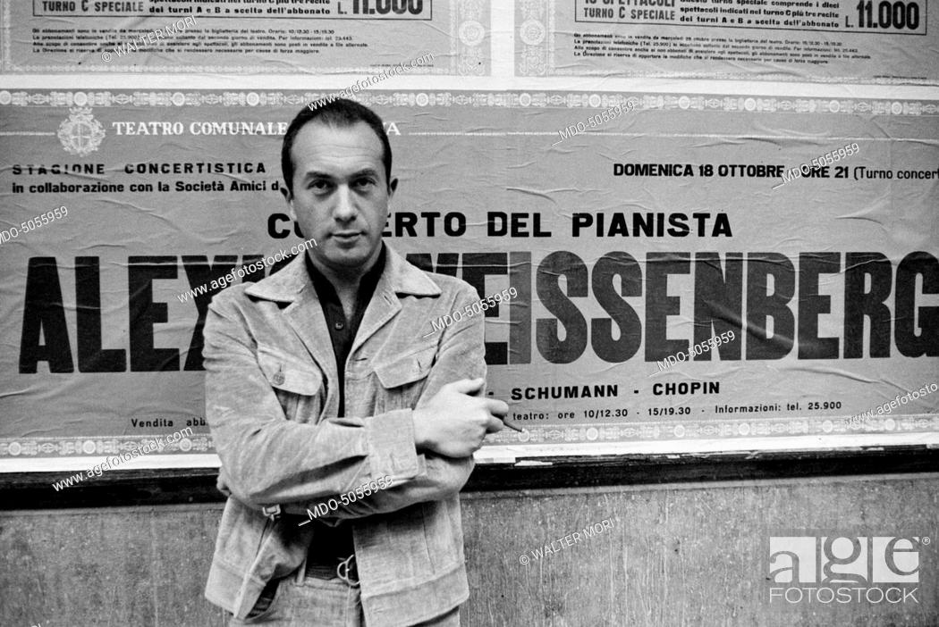 Stock Photo: Bulgarian-born French pianist Alexis Weissenberg outside the Teatro Comunale in Modena where he is going to play a concert. Modena, 10th October 1970.