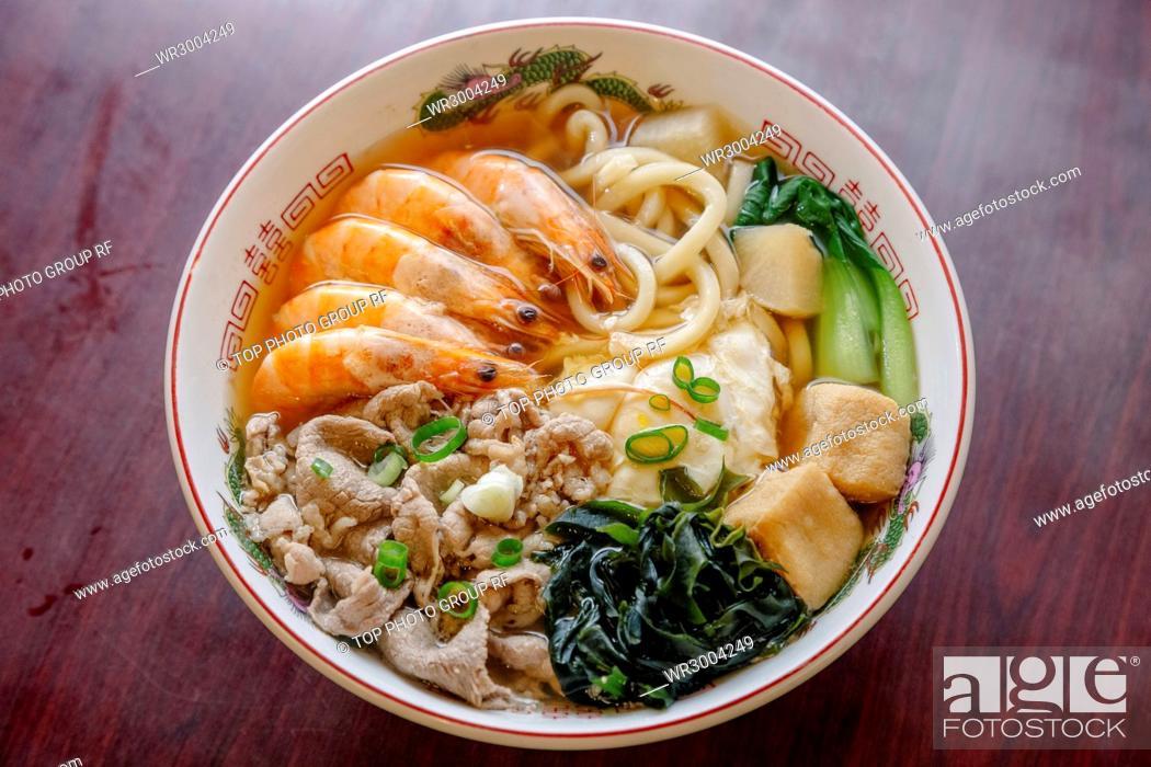 Stock Photo: shrimp noodles.