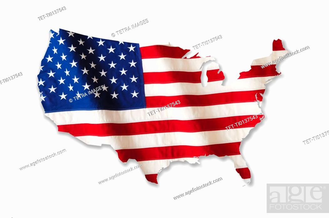 Imagen: American flag in shape of United States.