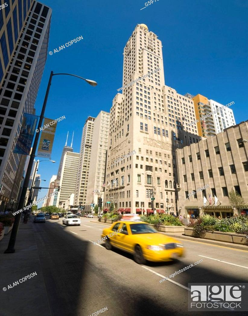 Stock Photo: USA Illinois Chicago North Michigan Avenue (The Magnificent Mile shopping street) including Hancock Tower.