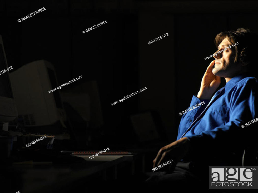 Stock Photo: Businessman being inspired,.