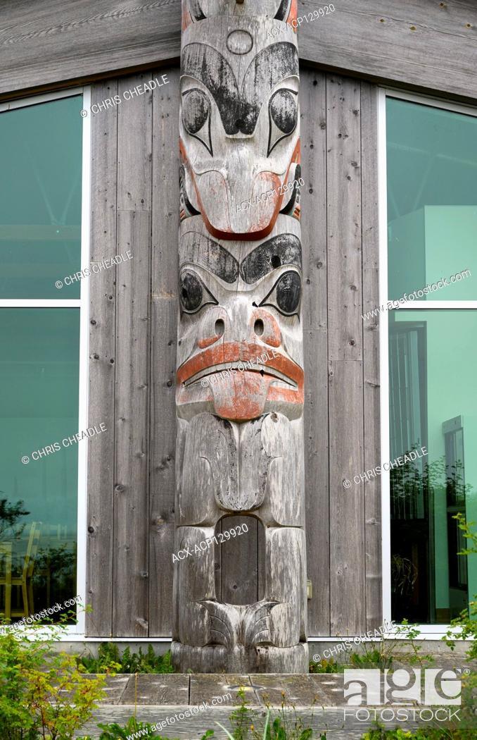 Stock Photo: Detail from K'uuna by 7idansuu Jim Hart, Haida Heritage Centre at Kay Llnagaay, Skidegate, Haida Gwaii, Formerly known as Queen Charlotte Islands.