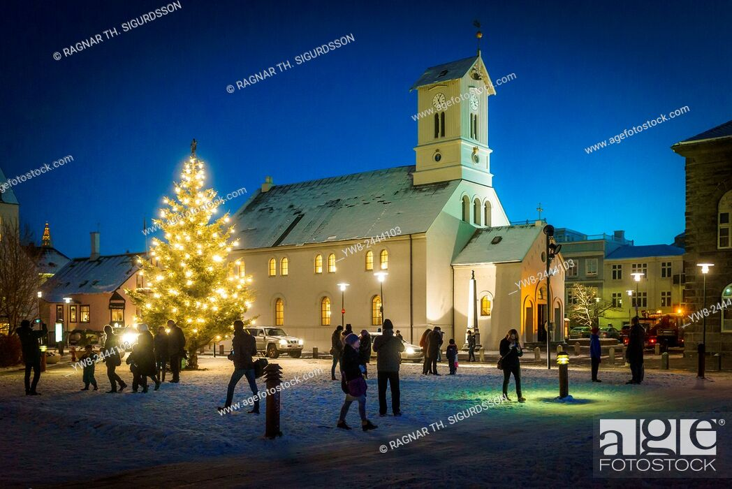 Stock Photo: Christmas Tree by Domkirkjan Church, Reykjavik, Iceland.
