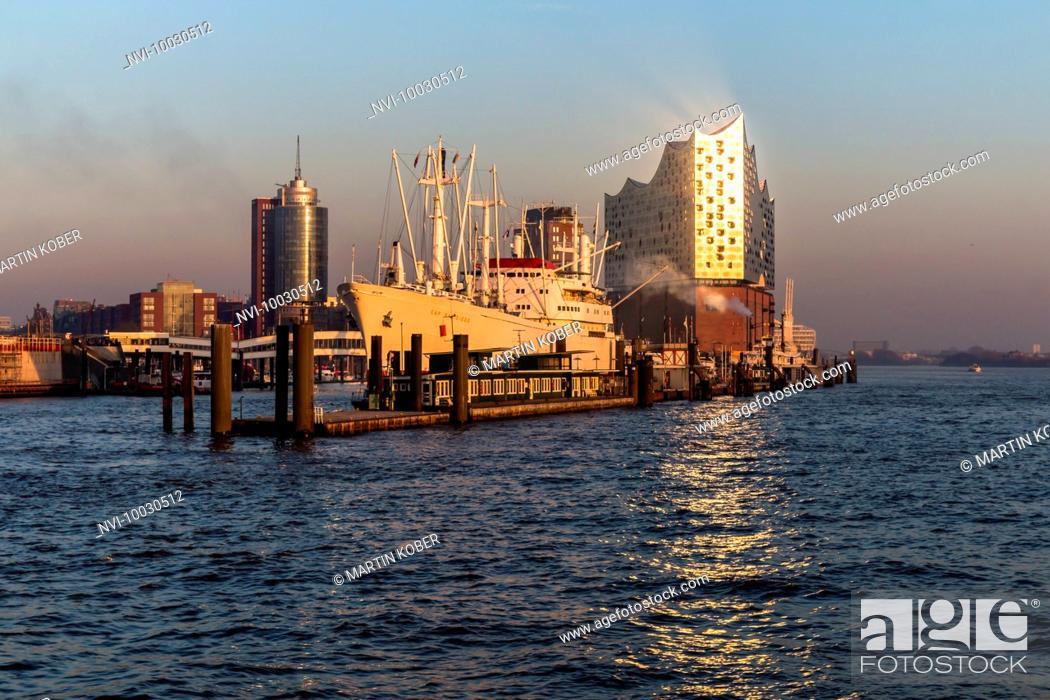 Stock Photo: Elbphilharmonie and Museum ship Cap San Diego, Hamburg, Germany.