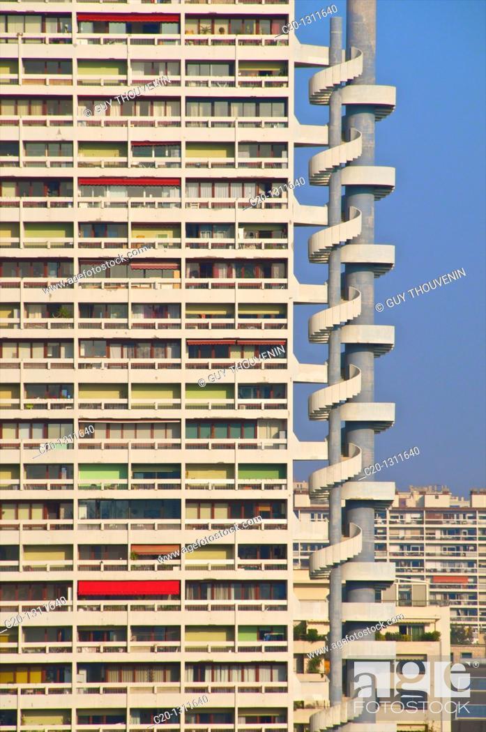 Stock Photo: Buildings seen from Le Corbusier building, la Citée Radieuse, Marseille, Bouches du Rhone, 13, France.