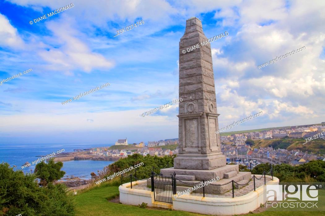 Stock Photo: The World War I Memorial, Findochty, Banffshire, Moray, Grampian, Scotland, UK.