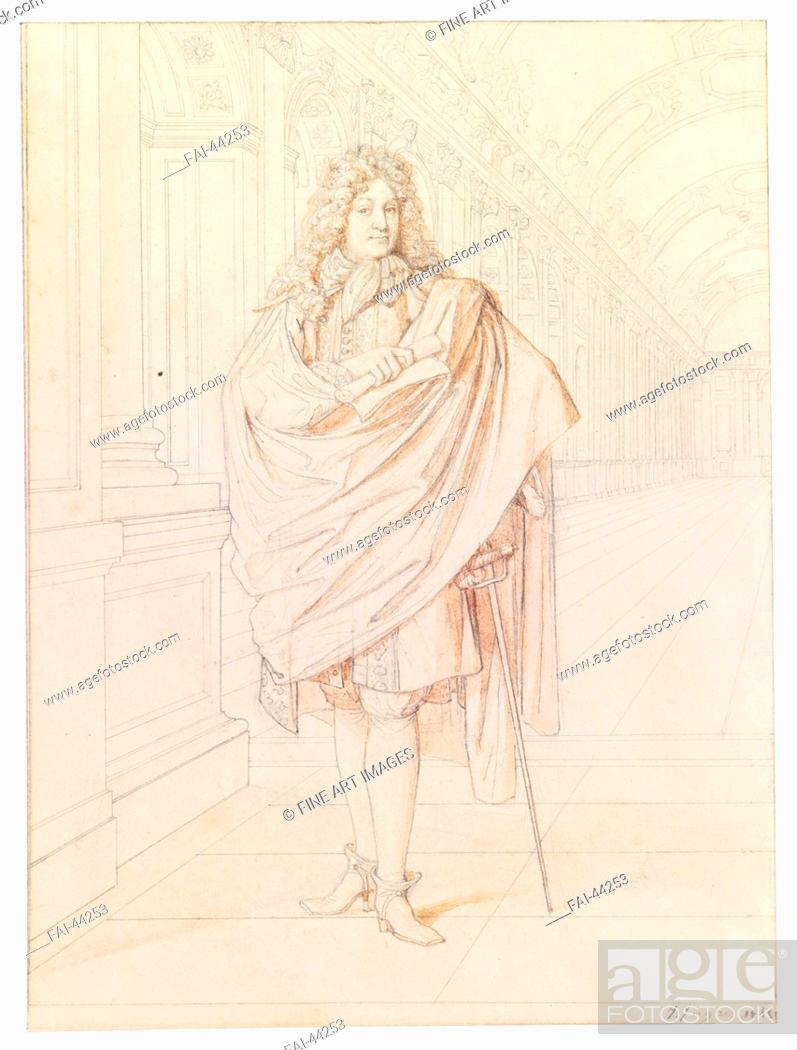 Stock Photo: Portrait of the poet Jean Racine (1639-1699) by Ingres, Jean Auguste Dominique (1780-1867)/Pen, brush, Indian ink on paper/Neoclassicism/1845/France/Private.