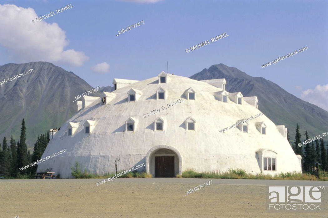 Stock Photo   USA, Alaska, Hotel, Igloo Form, North America, Destination,  Destination, Tourism, Hotellereie, Buildings, Construction, Architecture,  Dome, ...