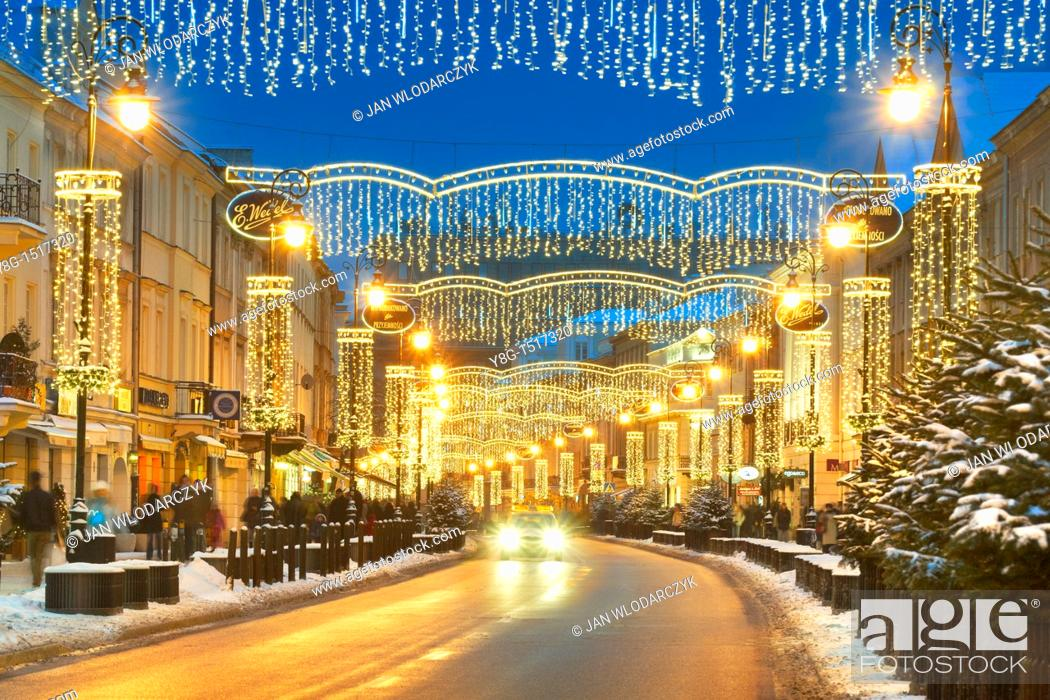 Stock Photo: Warsaw, street decorations in Christmas time, Poland, Europe.