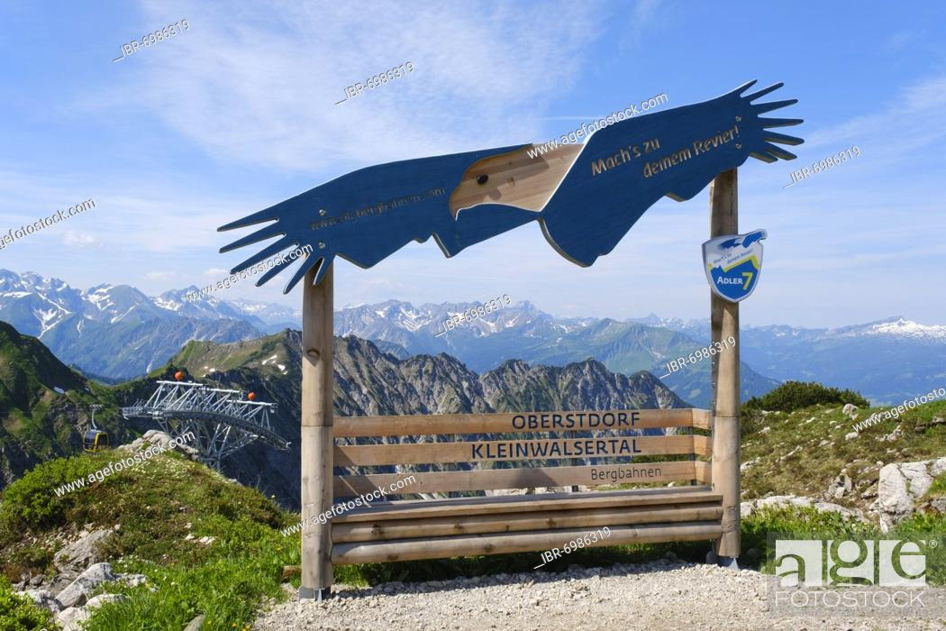 Stock Photo: Viewpoint Adler am Nebelhorn 2224m, Allgäu Alps, Oberstdorf, Allgäu, Bavaria, Germany, Europe.