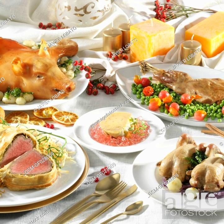 Christmas Meat Dishes.Christmas Meat Dishes Still Life Stock Photo Picture And
