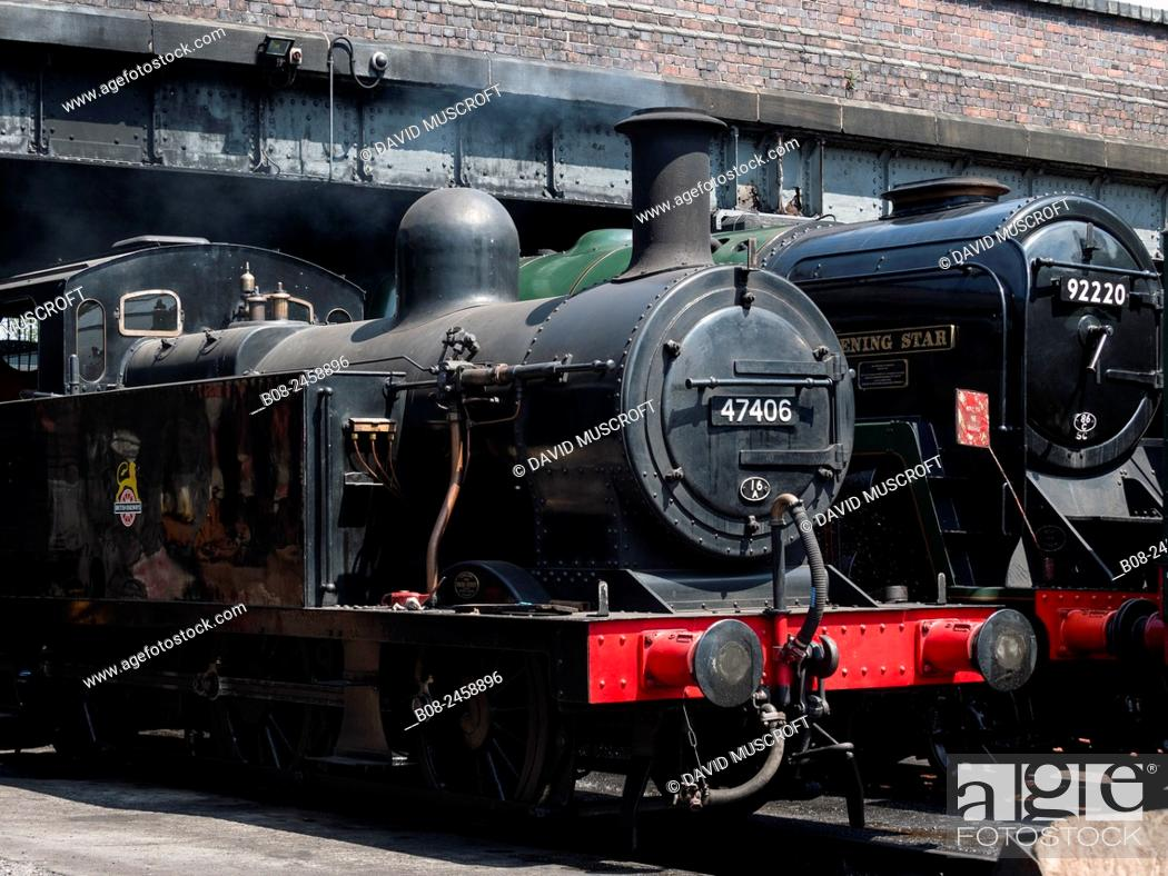 Stock Photo: vintage steam locomotive at Loughborough station, on the Great Central Railway in Leicestershire,UK.