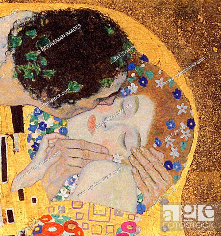 Stock Photo: The Kiss, 1907-08 (oil on canvas) (detail of 601), Klimt, Gustav (1862-1918) / Osterreichische Galerie Belvedere, Vienna, Austria / Bridgeman Images.