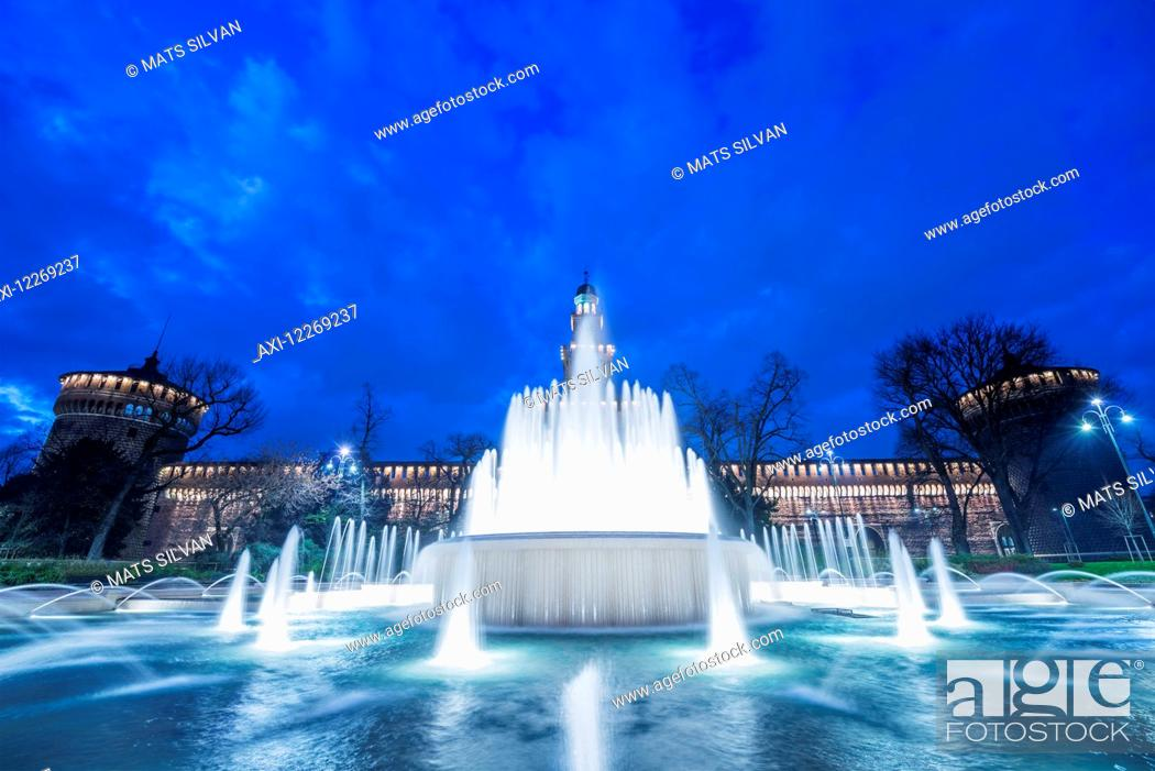 Stock Photo: Sforza castle and water fountain; Milan, Lombardy, Italy.