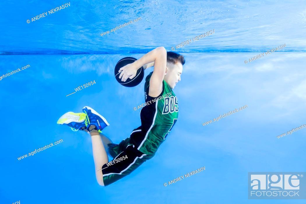 "Stock Photo: """"""""""Play fashion junior"""" - Boy playing basketball under water, Odessa, Ukraine."