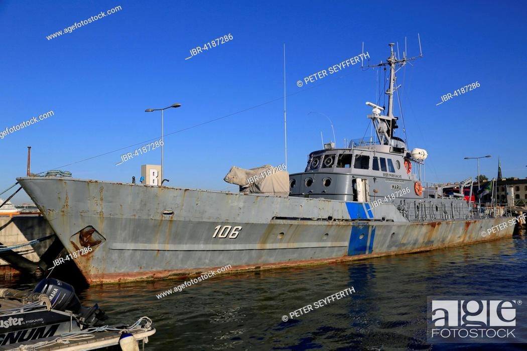 Stock Photo: Coast guard ship Maru PVL-106 in the Port Museum, Lennusadam Seaplane Harbour Museum, Tallinn, Estonia.