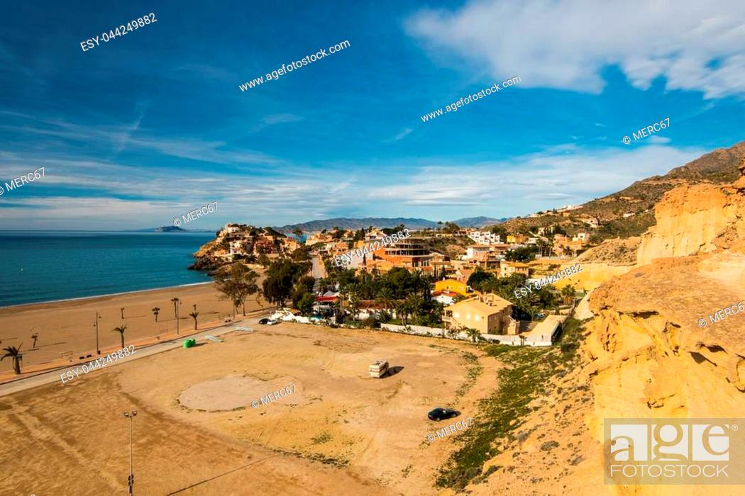 Stock Photo: Panoramic view over Bolnuevo in Spain, with beach and sea.