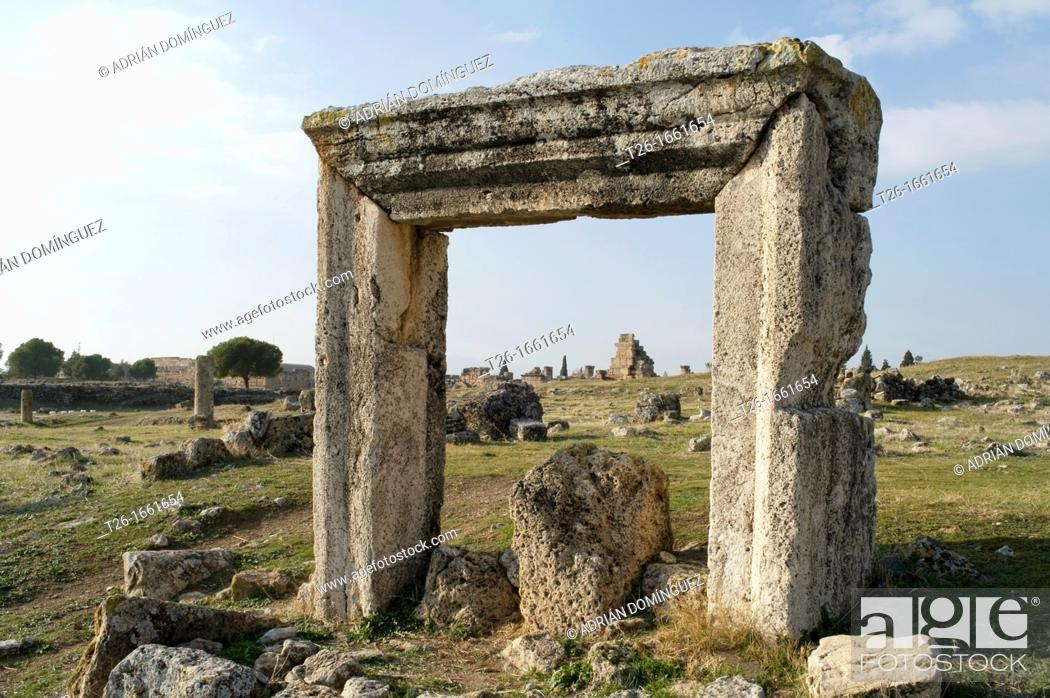 Stock Photo: Rest of ruins in Pamukale hierapolis, Turkey.
